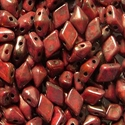 Picture of Czech DiamonDuo 2-Hole Beads | DD-93400/15615  Coral Red Bronze  (5 g.)