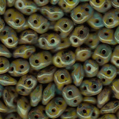 Picture of Czech SuperDuo Beads   SD-53410/43400  Opaque Olive Picasso