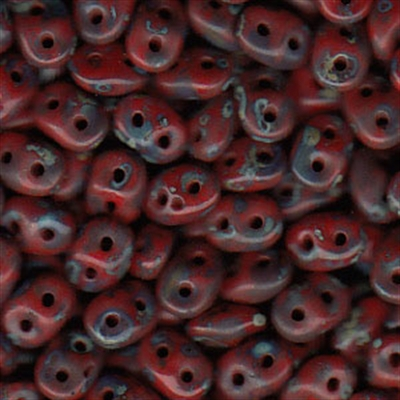 Picture of Czech SuperDuo Beads | SD-93200/86805  Opaque Red w/Dark Travertin
