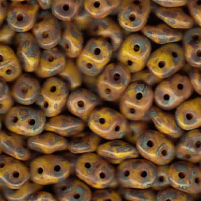 Picture of Czech SuperDuo Beads | SD-83120/86805  Opaque Yellow w/Dark Travertin