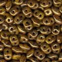 Picture of Czech SuperDuo Beads | SD-83120 BT  Opaque Yellow Bronze Picasso