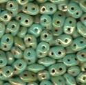 Picture of Czech SuperDuo Beads | SD-63030/43400  Opaque Aqua Luster Picasso