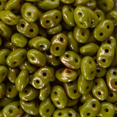Picture of Czech SuperDuo Beads | SD-53420 GM  Opaque Olive Gold Marbled