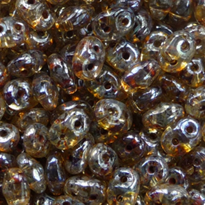 Picture of Czech SuperDuo Beads | SD-00030/43400  Crystal Lt. Topaz Picasso