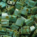 Picture of Miyuki Tila Beads | TL-4514 (H)  Opaque Turquoise Picasso (5 g.)