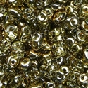 Picture of Czech SuperDuo Beads | SD-00030/26441  Crystal Half Lt. Yellow Gold