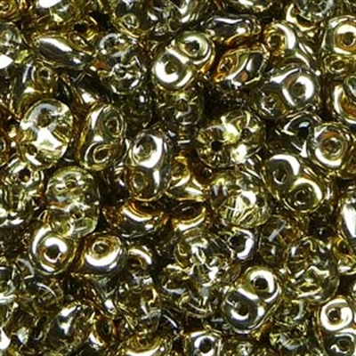 Picture of Czech SuperDuo Beads   SD-00030/26441  Crystal Half Lt. Yellow Gold