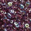 Picture of Czech SuperDuo Beads | SD-20060/28701  Transparent Amethyst AB