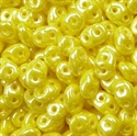 Picture of Czech SuperDuo Beads | SD-83120/14400  Opaque Lemon Yellow w/White Luster