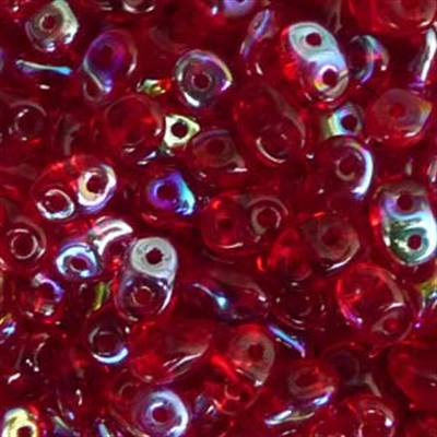 Picture of Czech SuperDuo Beads | SD-90080/28701  Transparent Ruby Red AB