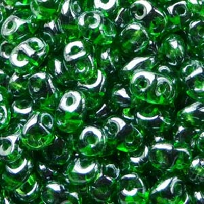 Picture of Czech SuperDuo Beads | SD-50050/14400  Transparent Kelly Green w/White Luster