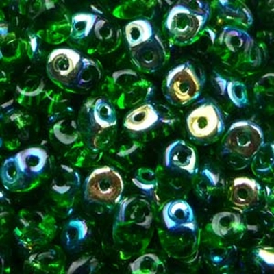 Picture of Czech SuperDuo Beads | SD-50050/28701  Transparent Kelly Green AB