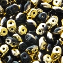 Picture of Czech SuperDuo Beads | SD-23980/26441  Jet Half Yellow Gold
