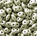 Picture of Czech SuperDuo Beads   SD-23980/81002  Jet Silky Nickel Silver