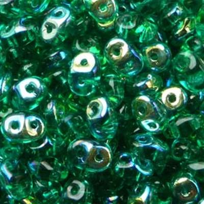 Picture of Czech SuperDuo Beads | SD-50720/28701  Transparent Emerald Green AB