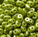 Picture of Czech SuperDuo Beads | SD-53410/14400  Opaque Pea Green w/White Luster