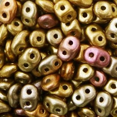Picture of Czech SuperDuo Beads   SD-00030/01610 Silky Gold Rainbow