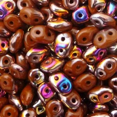 Picture of Czech SuperDuo Beads | SD-13600/29500  Opaque Umber Brown Sliperit