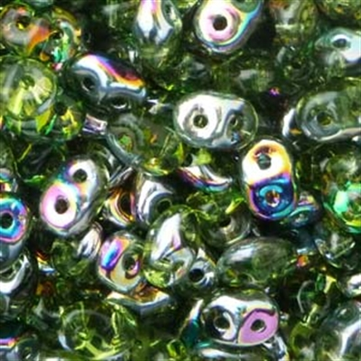 Picture of Czech SuperDuo Beads   SD-50230/28101  Transparent Lime Green Vitrail