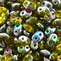 Picture of Czech SuperDuo Beads | SD-80020/28101  Transparent Yellow Vitrail