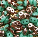 Picture of Czech SuperDuo Beads | SD-63130/27101  Opaque Turquoise Green Capri Gold