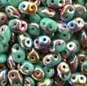 Picture of Czech SuperDuo Beads | SD-63130/28101  Opaque Turquoise Green Vitrail
