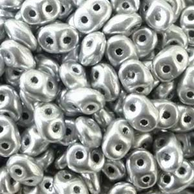 Picture of Czech SuperDuo Beads | SD-00030/01700 Silky Silver Aluminum