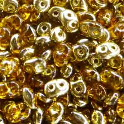 Picture of Czech SuperDuo Beads | SD-10060/26441  Crystal Topaz Half Yellow Gold