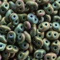 Picture of Czech MiniDuo Beads | MD-23980/21155  Matte Jet Green Iris (5 g.)