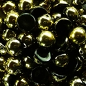 Picture of 10mm Czech Dome Beads | DM10-23980/26441  Jet Half Yellow Gold (10 pcs.)