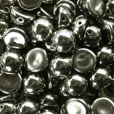 Picture of 10mm Czech Dome Beads | DM10-23980/27500  Jet Full Argentic (10 pcs.)