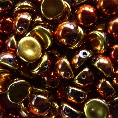 Picture of 10mm Czech Dome Beads | DM10-23980/98542 Jet California Gold Rush (10 pcs.)