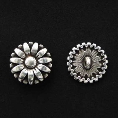 Picture of Button Clasp | #CL-101-AS - Sunflower - 17mm Antique Silver (1 pc.)