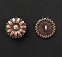 Picture of Button Clasp | #CL-101-AC - Sunflower - 17mm Antique Copper (1 pc.)