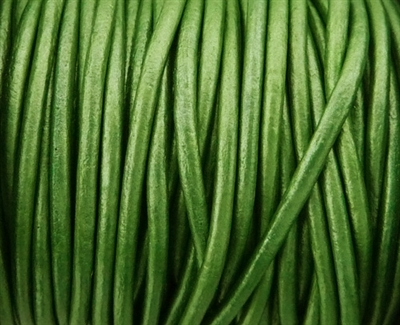 Picture of Leather Cord | #LC48 - 1.5mm Metallic Lawn Green (1 ft.)