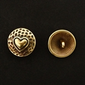 Picture of Button Clasp | #CL-108-AB - Heart - 17mm Antique Brass (1 pc.)
