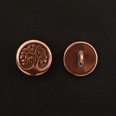 Picture of Button Clasp   #CL-113-CP - Bird In A Tree - 16mm Copper Plate (1 pc.)