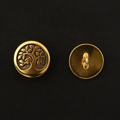 Picture of Button Clasp | #CL-113-GP - Bird In A Tree - 16mm Gold Plate