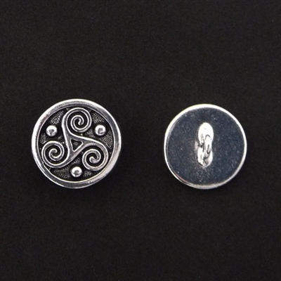 Picture of Button Clasp | #CL-111-AS - Triskele - 16mm Antique Silver