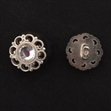 Picture of Button Clasp | #CL-107-AS - Rhinestone Flower - 15mm Antique Silver (1 pc.)