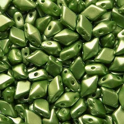 Picture of Czech DiamonDuo 2-Hole Beads | DD-02010/25034  Pearlescent Olivine  (5 g.)