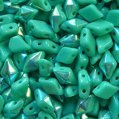 Picture of Czech DiamonDuo 2-Hole Beads   DD-63130/28701  Green Turquoise AB  (5 g.)