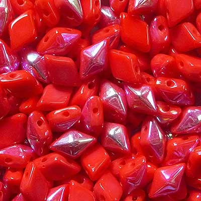 Picture of Czech DiamonDuo 2-Hole Beads | DD-93400/28701  Coral Red AB  (5 g.)