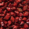 Picture of Czech DiamonDuo 2-Hole Beads | DD-93400/86800  Coral Red Pecan Picasso  (5 g.)