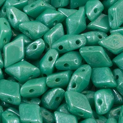Picture of Czech DiamonDuo 2-Hole Beads | DD-63130/14400  Green Turquoise Shimmer  (5 g.)
